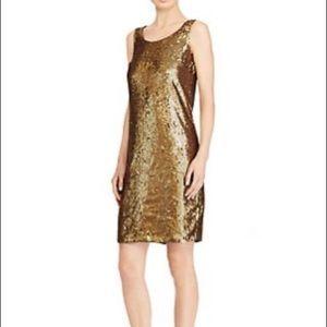 Nwt Ralph Lauren gold sequin dress